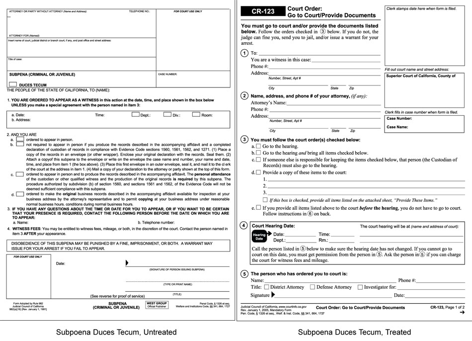 court documents templates